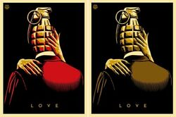 Shepard Fairey - Love Is The Drug Set - Gold Ed 200 And Red Ed 400 Sn Obey Giant