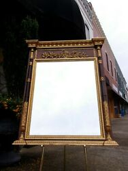Outstanding Italian Hand Carved Gold And Mahogany Mirror 20th Century