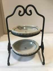 """Longaberger Miniature Pie Plates And Holder 6"""" Tall"""
