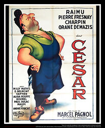 Cesar Marcel Pagnol 4x6 Ft French Grande Movie Poster 1936 Rerelease 1950