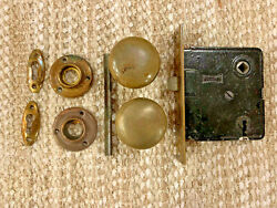 Antique Russwin Interior Mortise Lock And Brass Door Knobs, Rosette And Key Hole