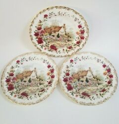 Royal Albert Plates 3 Old Country Roses Cottage 1988 England Bone China 8