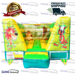 13x10ft Inflatable Jungle Open Bounce House With Air Blower