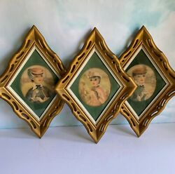 Vtg Diamond Shaped Victorian Lady Pictures, Mid Century Wall Decor