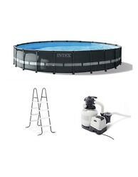 Intex 20and039 X 48 Ultra Xtr Frame Round Swimming Pool Set W/ Pump Ladder And Cover