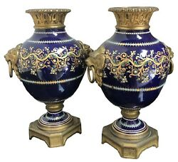 A 19th C. Pair Of French Severs Style, Bronze Mounted Cobalt Porcelain Urns