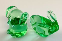 Murano Style Art Glass Green Pig Elephant Paperweight Figures