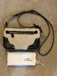 $195 COACH Small Rhyder Genuine Natural Shearling Crossbody Leather Bag Black $40.00