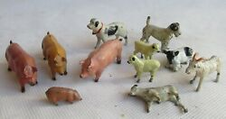 Vintage Lot Of 11 Sort Of Farm Animals, Sheep, Dogs, Pig, Cow, Lead Figures