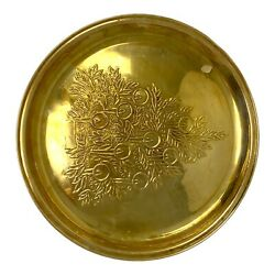 Vintage Large Round Brass Tray Ornate Etched Christmas Tree Gold