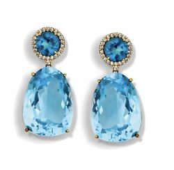 Scully And Scully 18kt Yellow Gold With London Topaz And Diamond Drop Earrings