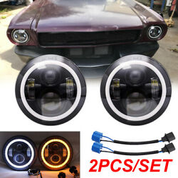 Pair 7 Inch Led Headlights For Ford Mustang 1965-1973 F-100 Pikcup Chevy Truck