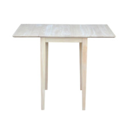 Small Drop Leaf Wood Unfinished Dining Table Reverse Bevel Edge And Shaker Legs