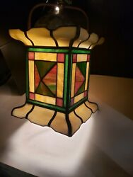 A++ Antique Stained Glass Gas Victorian Light Fixture Hall Foyer Entrance