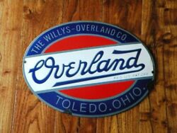 Vintage Overland Porcelain Sign Willys Oil Jeepster Gas Military Jeep Mb Cj Six