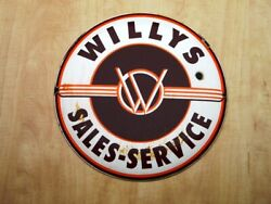 Xl Vintage Willys Sales-service Porcelain Sign Jeepster Mb Cj3b Military Jeep