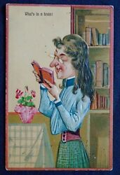 Old Pfb Comic Lady Whatand039s In A Brain Post Card 8939