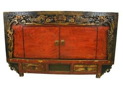 A Chinese Antique Wood Cabinet Tv Table Gorgeous Flower And Dragon