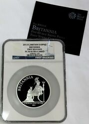 2013 Silver Great Britain 10 Pounds Britannia 5oz Proof Ngc Pf 70 First Releases