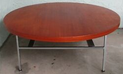 Large Round George Nelson For Herman Miller Coffee Table In Walnut And Aluminum