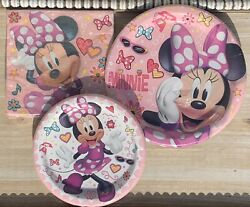 Minnie Mouse Party Paper Plates Napkins Service For 8 Guests