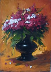 The Red Flowers Original Oil Painting