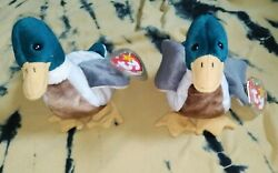 Rare Jake The Duck Beanie Babies Both With Tag Errors '97,'98 Good Condition
