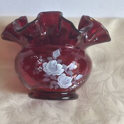 Fenton Ruby Red Vase Floral Design Hand Paint Design By D Bummer Made In Usa Goo
