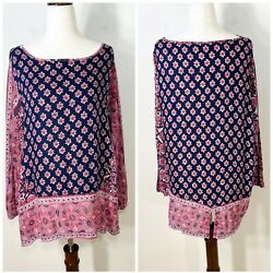 LUCKY BRAND size large border print 3 4 sleeve top