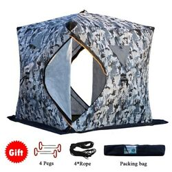 Portable 3-4 Person Winter Ice Fishing Tent Pop Up Shelter Camping Waterproof