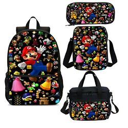 Super Mario Bro Game Kids Backpacks School Insulated Lunch Bag Pen Case Gift Lot $10.44
