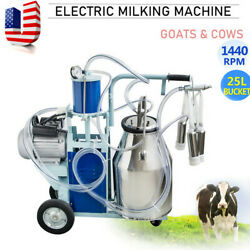 25l Electric Milker Milking Machine For Cows W/ Bucket 10-12 Cows/ Hour 0.55kw