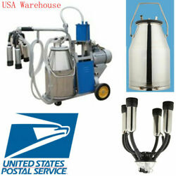 Electric Milking Machine For Farm Cows W/ 304 Stainless Steel Bucket Cow Milker