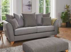 Classic Modern Grey Fabric 3 Seater 2 Seat Armchair Stools Sofa Suite Encore 321