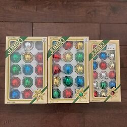 Vintage Pyramid Glass Christmas Ornaments Bulbs Assorted Boxes Made In Usa