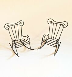 """Vtg Metal Dollhouse Miniatures 4"""" Rocking Chairs 2 Fairy Furniture Black Wire"""