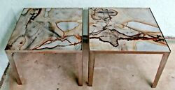 Pair Of Florence Knoll Side Tables With Exotic Marble Tops And Steel Base 1950and039s