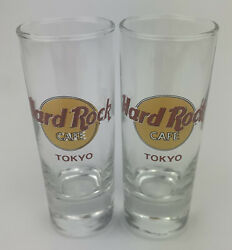 Hard Rock Cafe Tokyo Shot Glass Shooter 4 Inches Tall Set Of 2