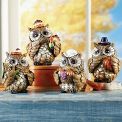 Set Of 4 Pilgrims And Indians Harvest Owls Thanksgiving Table Shelf Figurines