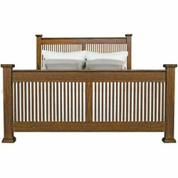 A-america Mission Hills Solid Wood Queen Slat Bed In Harvest