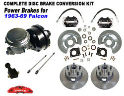 1963-69 Ford Falcon Power Front Drum To Disc Brake Kit 5 Lug Black Calipers