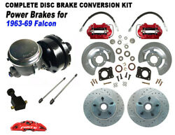 1963-69 Ford Falcon Power Front Disc Brake Kit 5 Lug Xd Rotors Red Calipers