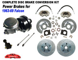 1963-69 Ford Falcon Power Front Disc Brake Kit 5 Lug11.25 X Drilled Rotor