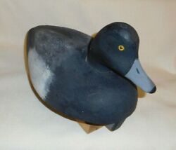 Antique Bluebill Drake Wood Duck Decoy Handcrafted/painted W/stand Len Suzor