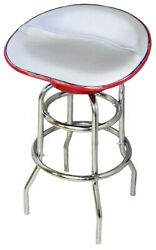 Classic Farmall Tractor Seat Bar Stool Silver Canvas - Fast Shipping -