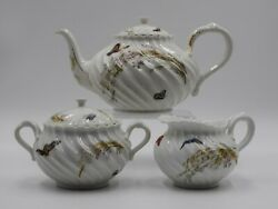 Haviland Limoges Meadow Visitor 3 Pc Tea Set - Butterfly- Rare