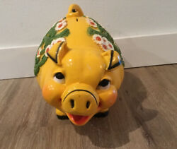 Vtg Rare Floral Piggy Bank By Universal Statuary Corp. Of Chicago, Il 1976