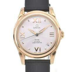 Omega De Vill Co-axial 4181.31.00 K18yg/leather Automatic Ladies Watch V105362