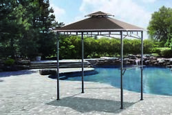 8and039 X 5and039 Black 2 Metal Shelf Grill Gazebo Outdoor Bbq Double Tier Canopy W/ Led