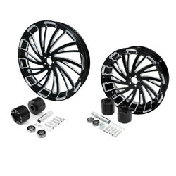 21 Front And 18'' Rear Cnc Wheel Rim Dual Disc Hub Fit For Harley Touring 08-21
